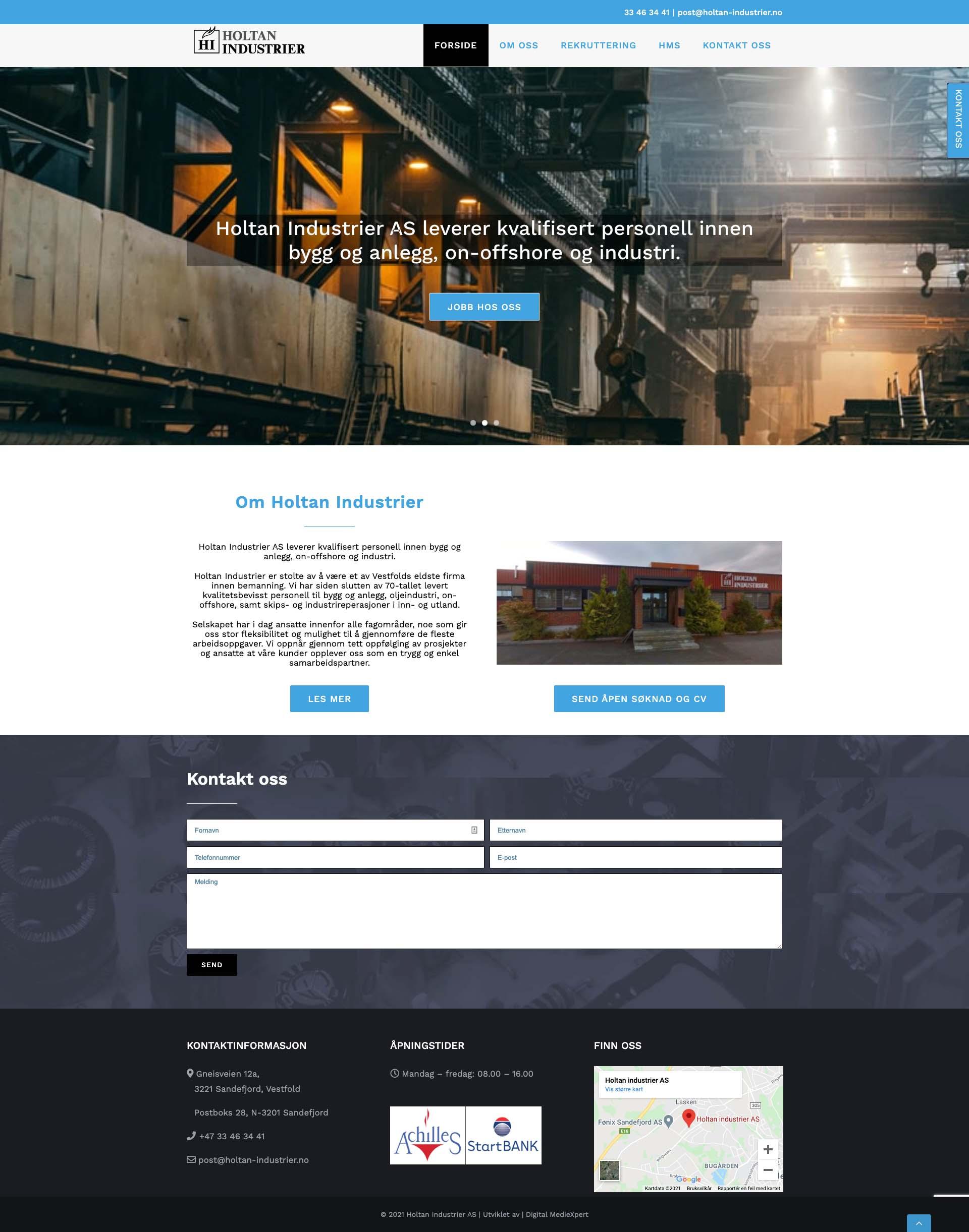 Hjemmeside Holtan Industrier